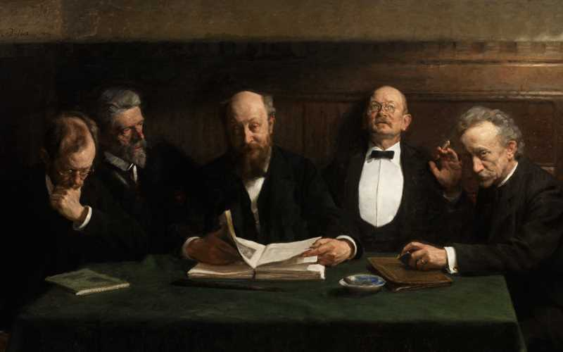 A Skagen painting showing five serious, elderly men sitting together around a table with papers on it.
