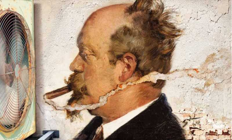 Painting of a man smoking a cigar in front of a fan